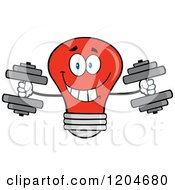 Cartoon Of A Happy Red Light Bulb Mascot Weightlifting Dumbbells Royalty Free Vector Clipart