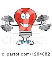 Cartoon Of A Happy Red Light Bulb Mascot Lifting Dumbbell Weights Royalty Free Vector Clipart