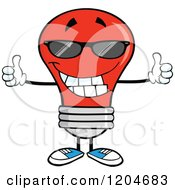 Cartoon Of A Happy Red Light Bulb Mascot Wearing Shades And Holding Two Thumbs Up Royalty Free Vector Clipart