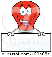 Cartoon Of A Happy Red Light Bulb Mascot Over A Sign Royalty Free Vector Clipart