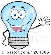 Cartoon Of A Happy Blue Light Bulb Mascot Waving Royalty Free Vector Clipart