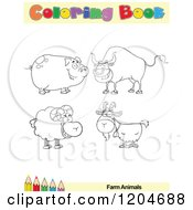 Cartoon Of A Coloring Book Page With Farm Animal Outlines Text And A Colored Pencil Border Royalty Free Vector Clipart