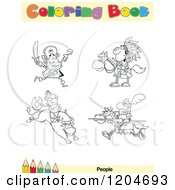 Cartoon Of A Coloring Book Page With People Outlines Text And A Colored Pencil Border Royalty Free Vector Clipart by Hit Toon