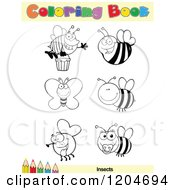 Cartoon Of A Coloring Book Page With Insect Outlines Text And A Colored Pencil Border Royalty Free Vector Clipart