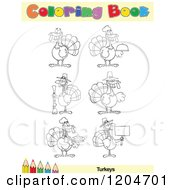 Cartoon Of A Coloring Book Page With Turkey Outlines Text And A Colored Pencil Border Royalty Free Vector Clipart
