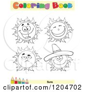 Cartoon Of A Coloring Book Page With Sun Outlines Text And A Colored Pencil Border 2 Royalty Free Vector Clipart