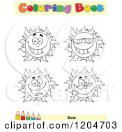 Cartoon Of A Coloring Book Page With Sun Outlines Text And A Colored Pencil Border Royalty Free Vector Clipart