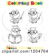 Cartoon Of A Coloring Book Page With Owl Outlines Text And A Colored Pencil Border Royalty Free Vector Clipart
