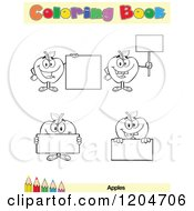 Cartoon Of A Coloring Book Page With Apple And Sign Outlines Text And A Colored Pencil Border Royalty Free Vector Clipart