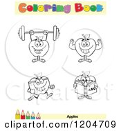 Cartoon Of A Coloring Book Page With Apple Outlines Text And A Colored Pencil Border 3 Royalty Free Vector Clipart