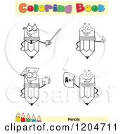 Cartoon Of A Coloring Book Page With Pencil Outlines Text And A Colored Pencil Border 2 Royalty Free Vector Clipart