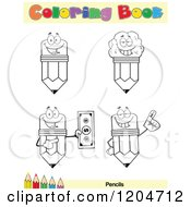 Cartoon Of A Coloring Book Page With Pencil Outlines Text And A Colored Pencil Border Royalty Free Vector Clipart