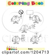 Cartoon Of A Coloring Book Page With Brain Outlines Text And A Colored Pencil Border 7 Royalty Free Vector Clipart