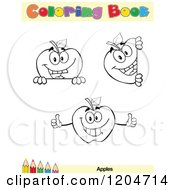 Cartoon Of A Coloring Book Page With Apple Outlines Text And A Colored Pencil Border 2 Royalty Free Vector Clipart