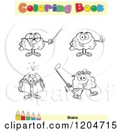 Cartoon Of A Coloring Book Page With Brain Outlines Text And A Colored Pencil Border 6 Royalty Free Vector Clipart