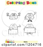 Cartoon Of A Coloring Book Page With Brain Outlines Text And A Colored Pencil Border 5 Royalty Free Vector Clipart