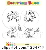 Cartoon Of A Coloring Book Page With Brain Outlines Text And A Colored Pencil Border 2 Royalty Free Vector Clipart