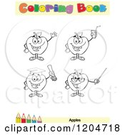 Cartoon Of A Coloring Book Page With Apple Outlines Text And A Colored Pencil Border Royalty Free Vector Clipart
