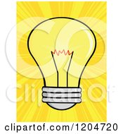 Cartoon Of A Yellow Light Bulb Over Rays Royalty Free Vector Clipart by Hit Toon