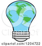 Cartoon Of A Planet Earth Light Bulb Royalty Free Vector Clipart