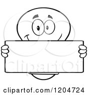 Cartoon Of A Happy Black And White Light Bulb Mascot Holding A Sign 4 Royalty Free Vector Clipart