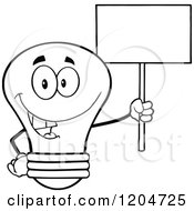 Cartoon Of A Happy Black And White Light Bulb Mascot Holding A Sign 3 Royalty Free Vector Clipart