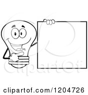 Cartoon Of A Happy Black And White Light Bulb Mascot Pointing To A Sign 2 Royalty Free Vector Clipart