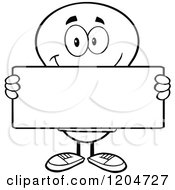 Cartoon Of A Happy Black And White Light Bulb Mascot Holding A Sign Royalty Free Vector Clipart