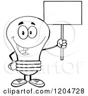 Cartoon Of A Happy Black And White Light Bulb Mascot Holding A Sign 2 Royalty Free Vector Clipart