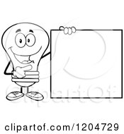 Cartoon Of A Happy Black And White Light Bulb Mascot Pointing To A Sign Royalty Free Vector Clipart