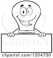 Cartoon Of A Happy Black And White Light Bulb Mascot Over A Sign Royalty Free Vector Clipart
