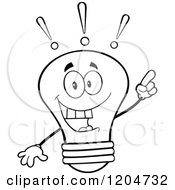Cartoon Of A Happy Black And White Light Bulb Mascot With An Idea Royalty Free Vector Clipart