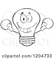 Cartoon Of A Happy Black And White Light Bulb Mascot Fighter Wearing Boxing Gloves Royalty Free Vector Clipart