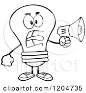 Black And White Light Bulb Mascot Announcing With A Megaphone