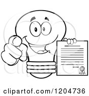 Cartoon Of A Happy Black And White Light Bulb Mascot Pointing And Holding A Contract 2 Royalty Free Vector Clipart
