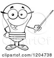 Cartoon Of A Happy Black And White Light Bulb Mascot Teacher Using A Pointer Stick Royalty Free Vector Clipart