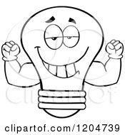 Cartoon Of A Happy Black And White Light Bulb Mascot Flexing Muscles Royalty Free Vector Clipart