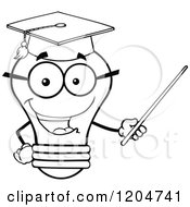 Cartoon Of A Happy Black And White Light Bulb Mascot Professor Using A Pointer Stick 2 Royalty Free Vector Clipart