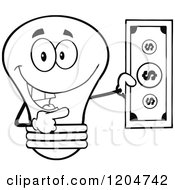 Cartoon Of A Happy Black And White Light Bulb Mascot Holding A Dollar Bill 2 Royalty Free Vector Clipart