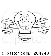 Cartoon Of A Happy Black And White Light Bulb Mascot Weightlifting Dumbbells Royalty Free Vector Clipart