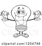 Cartoon Of A Rich Black And White Light Bulb Mascot Holding Cash Royalty Free Vector Clipart