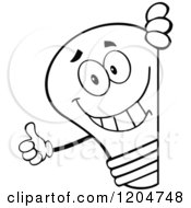 Cartoon Of A Happy Black And White Light Bulb Mascot Holding A Thumb Up Around A Sign Royalty Free Vector Clipart
