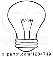 Cartoon Of A Black And White Light Bulb Royalty Free Vector Clipart