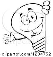 Cartoon Of A Happy Black And White Light Bulb Mascot Waving Around A Sign Royalty Free Vector Clipart
