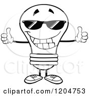 Cartoon Of A Happy Black And White Light Bulb Mascot Wearing Shades And Holding Two Thumbs Up Royalty Free Vector Clipart