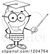 Cartoon Of A Happy Black And White Light Bulb Mascot Professor Using A Pointer Stick Royalty Free Vector Clipart