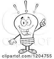 Cartoon Of A Smart Black And White Light Bulb Mascot With An Idea Royalty Free Vector Clipart