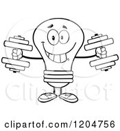 Cartoon Of A Happy Black And White Light Bulb Mascot Lifting Dumbbell Weights Royalty Free Vector Clipart