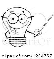 Cartoon Of A Happy Black And White Light Bulb Mascot Teacher Using A Pointer Stick 2 Royalty Free Vector Clipart