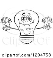 Cartoon Of A Rich Black And White Light Bulb Mascot Holding Cash 2 Royalty Free Vector Clipart